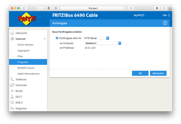 Fritzbox port redirect add